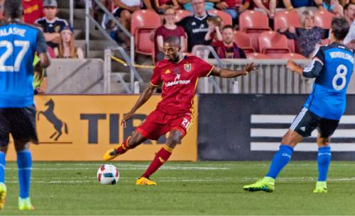 Michael Mangum  |  Special to the Tribune  Real Salt Lake defender Aaron Maund (21) kicks the ball downfield during their MLS match at Rio Tinto Stadium in Sandy, Utah on Friday, July 22nd, 2016.