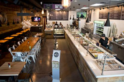 Lennie Mahler     The Salt Lake Tribune Aubergine & Company features healthful breakfast, lunch and dinner items prepared with fresh ingredients, good fats and natural sweeteners in a hip and happening location in Sugar House.