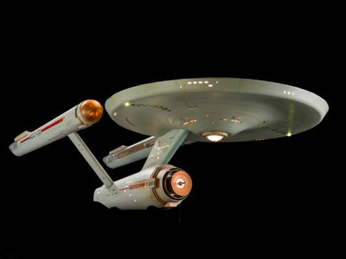 "(Dane Penland  |  National Air and Space Museum)  The original studio model of the Starship Enterprise, used in the TV series ""Star Trek,"" was recently restored and is now on view at the Smithsonian's National Air and Space Museum. ""Star Trek"" marks its 50th anniversary in September."