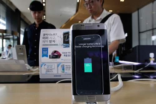 A Samsung Electronics Galaxy Note 7 smartphone is displayed at the headquarters of South Korean mobile carrier KT in Seoul, South Korea, Friday, Sept. 2, 2016. Samsung will issue a global recall of the Galaxy Note 7 smartphone as soon as this weekend after its investigation on explosion claims found batteries were at fault, according to South Korea's Yonhap News. (AP Photo/Ahn Young-joon)