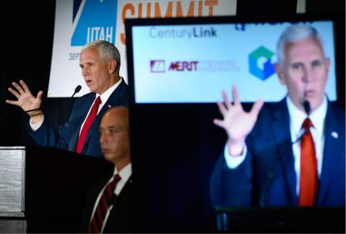 "Scott Sommerdorf   |  The Salt Lake Tribune   Indiana Governor Mike Pence speaks at ""Solutions Summit"" at Vivint Arena, Thursday, September 1, 2016."