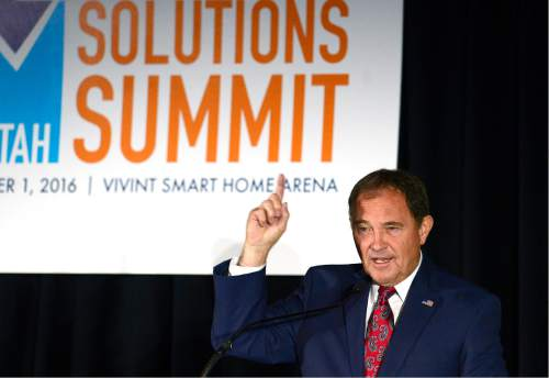 "Scott Sommerdorf   |  The Salt Lake Tribune   Utah Governor Gary Herbert speaks at ""Solutions Summit"" at Vivint Arena, Thursday, September 1, 2016."