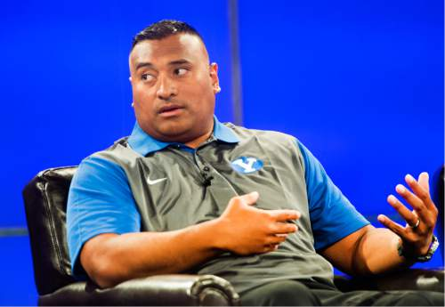 Rick Egan  |  The Salt Lake Tribune  BYU head coach Kalani Sitake answers questions from the press, during the annual football media day at the Broadcasting Building,Thursday, June 30, 2016.