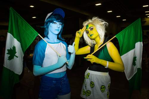 Chris Detrick     The Salt Lake Tribune Ashley Whittle and Izabelle Bryant, of Rexburg, Idaho, pose for a portrait as Peridot and Lapis Lazuli during Salt Lake Comic Con at the Salt Palace Convention Center Saturday September 3, 2016.
