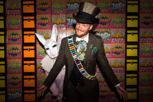 Chris Detrick     The Salt Lake Tribune Jon and Arlene Goates, of South Jordan, pose for a portrait as The Mad Hatter and White Rabbit during Salt Lake Comic Con at the Salt Palace Convention Center Saturday September 3, 2016.