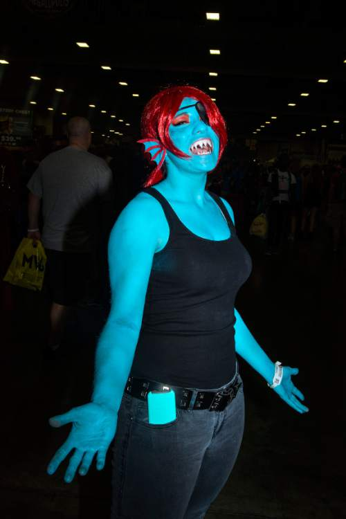 Chris Detrick     The Salt Lake Tribune Casara Reeves, of Ceder City, poses for a portrait as Undyne during Salt Lake Comic Con at the Salt Palace Convention Center Saturday September 3, 2016.