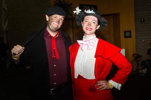 Chris Detrick     The Salt Lake Tribune Elora and Cameron Gunn, of Salt Lake City, pose for a portrait as Mary Poppins and and Bert during Salt Lake Comic Con at the Salt Palace Convention Center Saturday September 3, 2016.