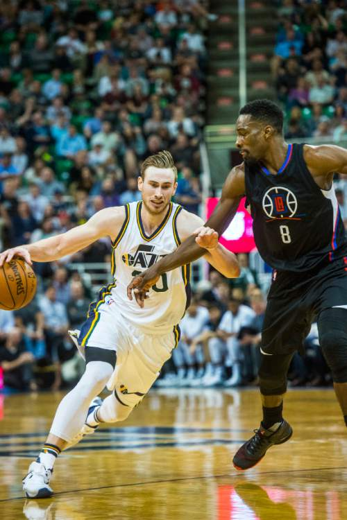 Chris Detrick  |  The Salt Lake Tribune Utah Jazz forward Gordon Hayward (20) is guarded by Los Angeles Clippers forward Jeff Green (8) during the game at Vivint Smart Home Arena Friday April 8, 2016. Los Angeles Clippers defeated the Utah Jazz 102-99 in overtime.
