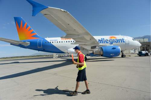 Scott Sommerdorf   |  The Salt Lake Tribune   An Allegiant Air flight backs out of it's position at the Provo Airport to begin the 10:48 a.m. flight to Phoenix-Mesa, Wednesday morning, August 31, 2016.