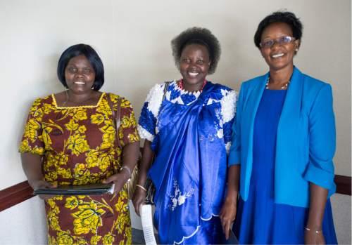 Rick Egan  |  The Salt Lake Tribune  Cecile Bankakaje, Specy Namimana and Esperance Rugomwa visit between meetings at the Parleys Creek Swahili LDS Branch on Sunday, June 12, 2016.