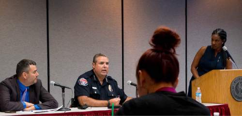 Trent Nelson  |  The Salt Lake Tribune John Mejia, legal director for ACLU, West Valley City Police Chief Lee Russo, and University of Utah Law Professor Erika George speak on a police and community relations panel at the Utah State Bar in Salt Lake City, Tuesday September 6, 2016.