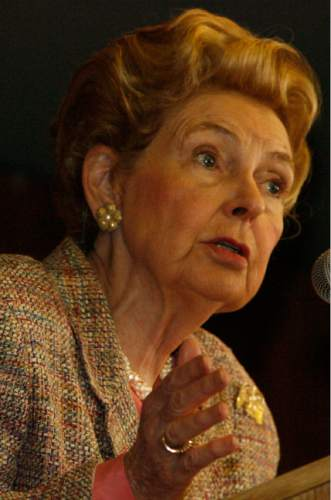 Leah Hogsten     Tribune file photo  National Eagle Forum President Phyllis Schlafly talks about illegal immigration during her visit to the Utah Eagle Forum's annual convention on January 15, 2006