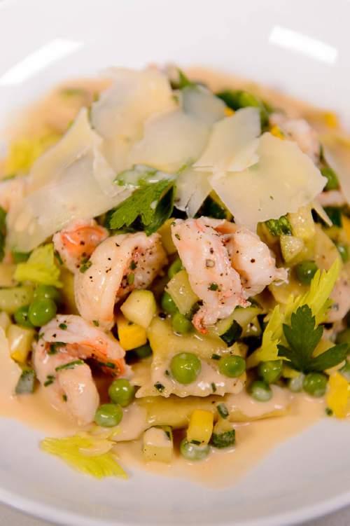Trent Nelson  |  The Salt Lake Tribune Pea Agnolotti at Stanza, a new Italian restaurant in Salt Lake City, Friday September 2, 2016.