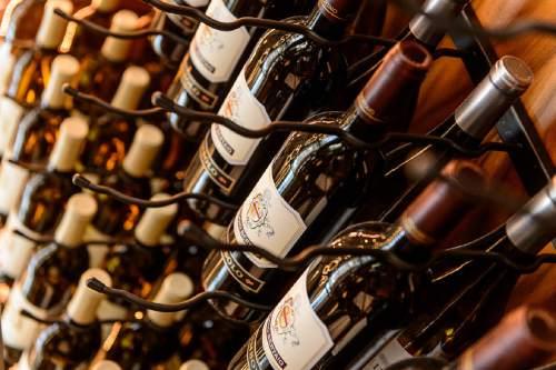 Trent Nelson  |  The Salt Lake Tribune Wine on racks at Stanza, a new Italian restaurant in Salt Lake City, Friday September 2, 2016.