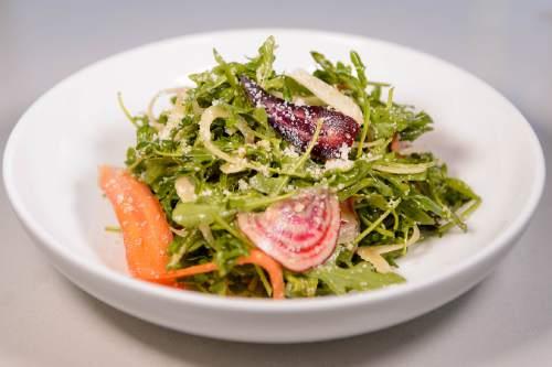 Trent Nelson  |  The Salt Lake Tribune Arugula salad at Stanza, a new Italian restaurant in Salt Lake City, Friday September 2, 2016.
