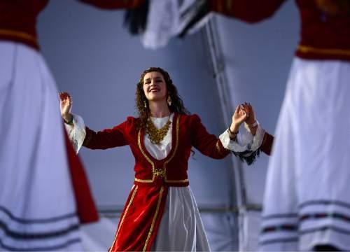 Scott Sommerdorf   |  The Salt Lake Tribune  Dancers perform during the 2014 Greek Festival in Salt Lake City.