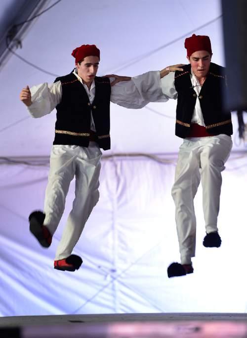Scott Sommerdorf   |  The Salt Lake Tribune Dancers perform during the 2014 Greek Festival in downtown Salt Lake City.