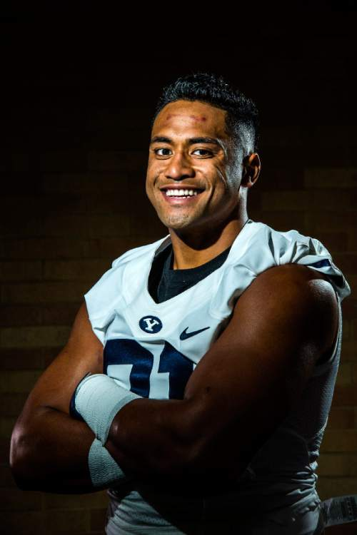 Chris Detrick  |  The Salt Lake Tribune Brigham Young Cougars linebacker Harvey Langi (21)  poses for a portrait at the indoor practice facility Tuesday August 9, 2016.