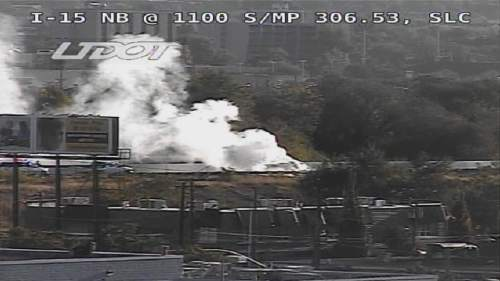 A vehicle fire shut down the 9th South off-ramp from Interstate 15 in Salt Lake City Wednesday morning. (UDOT photo)