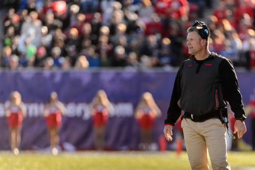 Trent Nelson  |  The Salt Lake Tribune Utah coach Kyle Whittingham, as Utah faces BYU in the Royal Purple Las Vegas Bowl, NCAA football at Sam Boyd Stadium in Las Vegas, Saturday December 19, 2015.