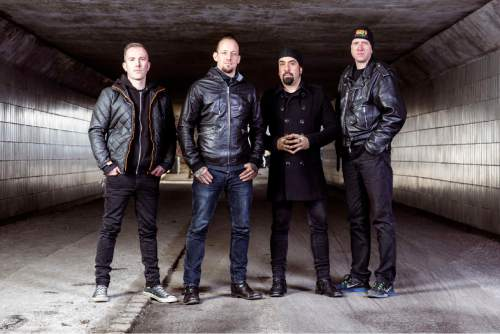 """Courtesy photo  Danish hard rock band Volbeat (from left: bassist Kaspar Boye Larsen, singer/guitarist Michael Poulsen, guitarist Rob Caggiano, drummer Jon Larsen) will be playing at The Complex in Salt Lake City on Friday in support of their sixth studio album, """"Seal the Deal & Let's Boogie."""" Black Wizard and Killswitch Engage open."""