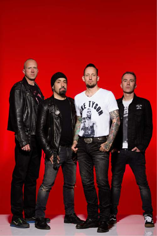 """Courtesy photo  Danish hard rock band Volbeat (from left: drummer Jon Larsen, guitarist Rob Caggiano, singer/guitarist Michael Poulsen, bassist Kaspar Boye Larsen) will be playing at The Complex in Salt Lake City on Friday in support of their sixth studio album, """"Seal the Deal & Let's Boogie."""" Black Wizard and Killswitch Engage open."""