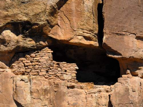 Trent Nelson  |  The Salt Lake Tribune A cliff dwelling in Recapture Canyon, Thursday September 8, 2016. The Bureau of Land Management is finally releasing an environmental review of San Juan County's application for a right-of-way through Recapture Canyon, inhabited by Anasazi more than 800 years ago. The BLM had closed the canyon, east of Blanding, to motorized use in 2007 after discovering an illegally constructed trail had damaged some of its archaeological sites.