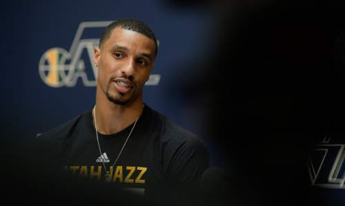 Francisco Kjolseth | The Salt Lake Tribune The Utah Jazz introduce their new point guard, George Hill, who was officially acquired from the Pacers yesterday after a deal was struck in the days leading up to the NBA draft.