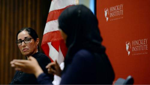 Steve Griffin / The Salt Lake Tribune   Dr. Soheila Amirsoleimani, World Languages and Cultures professor at the University of Utah listens to Amaal Sharif, executive board member Muslim Students Association (MSA) at the University of Utah during discussion at the Hinckley Institute of Politics on the University of Utah campus in Salt Lake City Monday September 12, 2016.