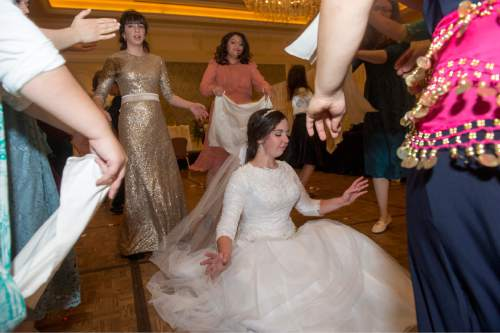 Rick Egan  |  The Salt Lake Tribune  Chaya Zippel dances during her traditional Hasidic wedding celebration at the Grand America after she married Rabbi Mendy Cohen on Monday, Sept. 12, 2016.