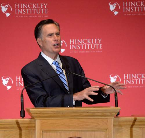 Al Hartmann  |  The Salt Lake Tribune Former presidential candidate Mitt Romney makes a speech about the state of the 2016 presidential race and Donald Trump at the Hinckley Insitute of Politics at the University of Utah Thursday March 3, 2016.