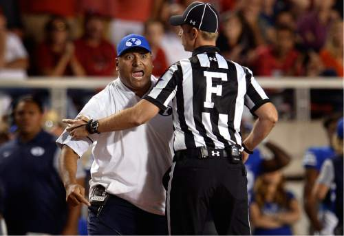 Scott Sommerdorf      The Salt Lake Tribune   BYU head coach Kalani Sitake argues that his DB Kai Nacua should not have been ejected for targeting. Utah defeated BYU 20-19, Saturday, September 10, 2016.