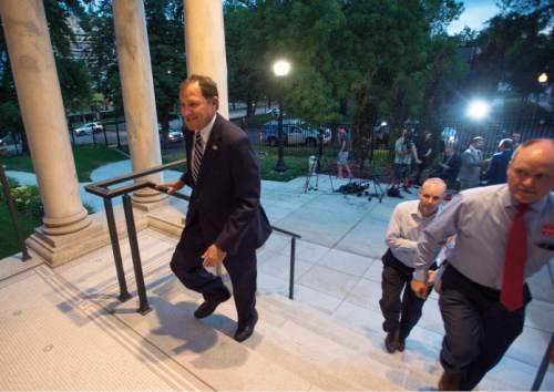 Steve Griffin  |  The Salt Lake Tribune  Gov. Gary Herbert won his Republican gubernatorial primary election Tuesday, June 28, 2016. The governor defeated Overstock Chairman Jonathan Johnson.