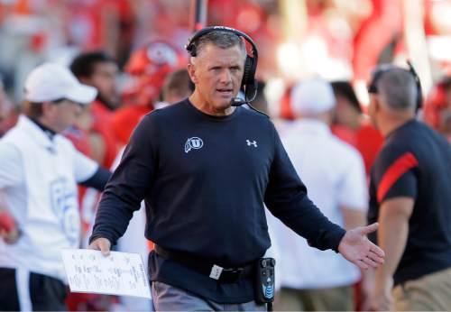 Utah head coach Kyle Whittingham reacts in the first quarter during an NCAA college football game against BYU, Saturday, Sept. 10, 2016, in Salt Lake City. (AP Photo/Rick Bowmer)