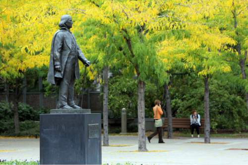 Francisco Kjolseth     The Salt Lake Tribune Brigham Young statue at BYU in Provo.