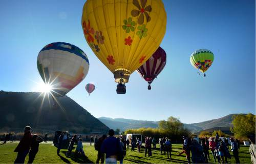 Scott Sommerdorf   |  The Salt Lake Tribune   The Autumn Aloft Hot Air Balloon Festival returns for its third flight at the North 40 Fields in Park City, Saturday, September 17, 2016.