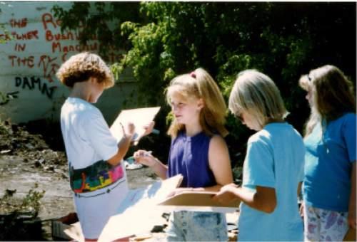 photo courtesy Lynne Olson  Elementary school students work at Hidden Hollow.