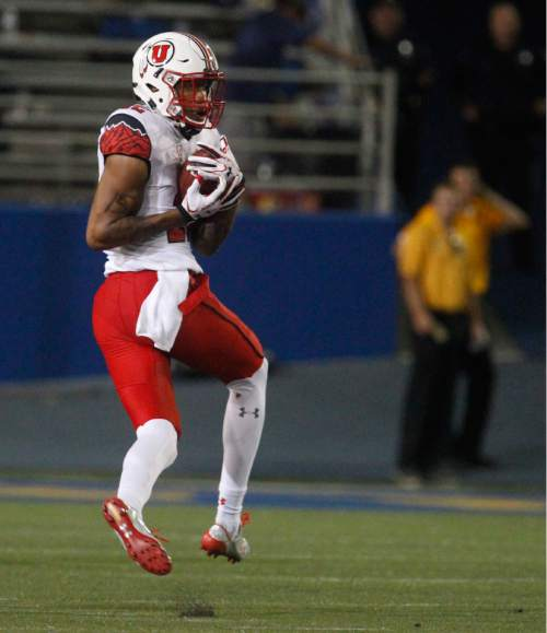 Utah wide receiver Tim Patrick catches a pass for 54 yards during the first half of an NCAA college football game Saturday, Sept. 17, 2016, in San Jose, Calif. (AP Photo/Mathew Sumner)