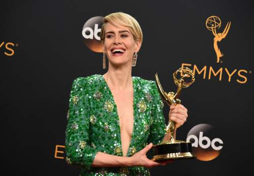 """Sarah Paulson winner of the award for outstanding lead actress in a limited series or a movie for """"The People v. O.J. Simpson: American Crime Story"""" poses in the press room at the 68th Primetime Emmy Awards on Sunday, Sept. 18, 2016, at the Microsoft Theater in Los Angeles. (Photo by Jordan Strauss/Invision/AP)"""
