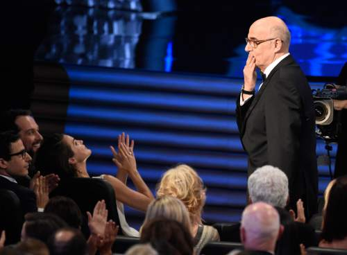 Jeffrey Tambor reacts after winning the award for outstanding lead actor in a comedy series at the 68th Primetime Emmy Awards on Sunday, Sept. 18, 2016, at the Microsoft Theater in Los Angeles. (Photo by Chris Pizzello/Invision/AP)