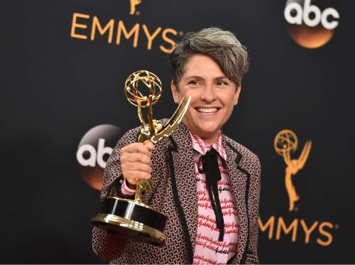 """Jill Soloway winner of the award for outstanding directing for a comedy series for """"Transparent"""" poses in the press room at the 68th Primetime Emmy Awards on Sunday, Sept. 18, 2016, at the Microsoft Theater in Los Angeles. (Photo by Jordan Strauss/Invision/AP)"""