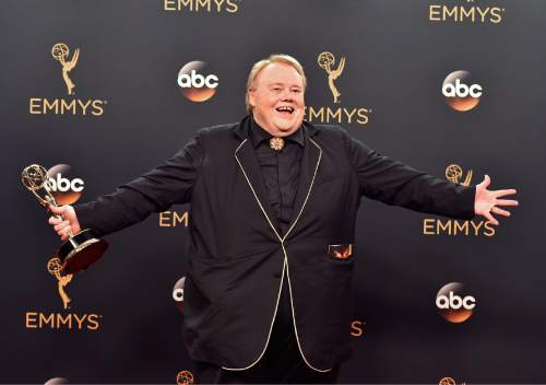 """Louis Anderson winner of the award for outstanding supporting actor in a comedy series for """"Baskets"""" poses in the press room at the 68th Primetime Emmy Awards on Sunday, Sept. 18, 2016, at the Microsoft Theater in Los Angeles. (Photo by Jordan Strauss/Invision/AP)"""