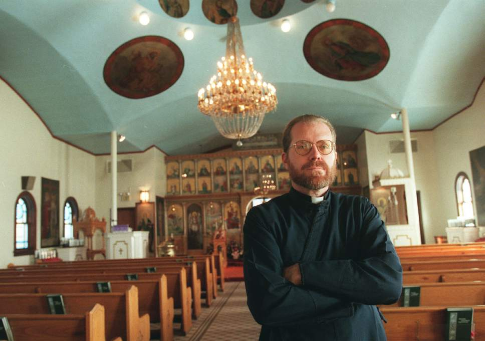 Al Hartmann     The Salt Lake Tribune  Father Matthew Gilbert oversees the needs of the Greek community in Price at the Assumption Greek Orthodox church built in 1916. He is the churches 35th priest. He is a relative newcomer to Price arriving 5 years ago.