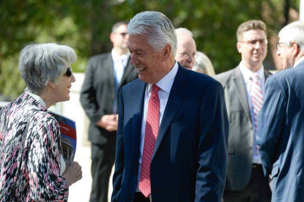 Francisco Kjolseth | The Salt Lake Tribune Champion of the homeless, Pamela Atkinson, speaks with President Dieter F. Uchtdorf, Second Counselor of the Church of Jesus Christ of Latter-day Saints during a historic event on Wednesday morning, Aug. 24, 2016.  The University of Utah unveiled the newly refurbished Enos A. Wall Mansion with a new name as the Thomas S. Monson Center after the current president of the Church of Jesus Christ of Latter-day Saints. The mansion becomes the home of the Kem C. Gardner Policy Institute.