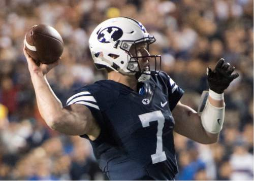 Rick Egan  |  The Salt Lake Tribune   Brigham Young quarterback Taysom Hill (7) throws a pass for the Cougars, in football action, BYU vs, UCLA, at Lavell Edwards Stadium, Saturday, September 17, 2016.