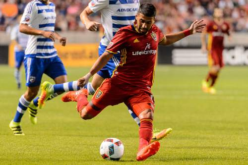 Trent Nelson  |  The Salt Lake Tribune Real Salt Lake midfielder Javier Morales (11) takes a shot as Real Salt Lake faces FC Dallas at Rio Tinto Stadium in Sandy, Saturday August 20, 2016.