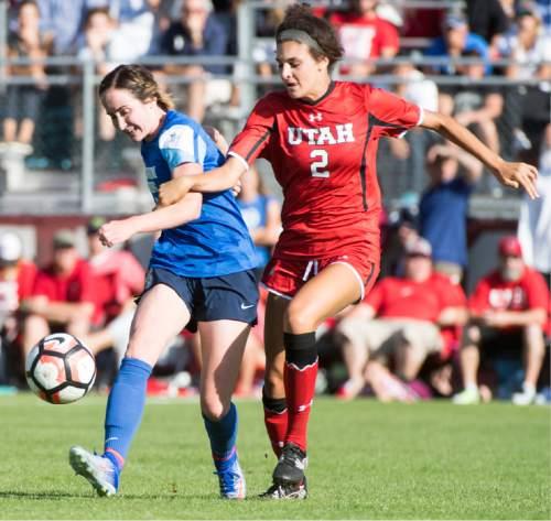 Rick Egan  |  The Salt Lake Tribune  BYU Michele Vasconcelos (7) and Utah Tavia Leachman (2) go for the ball, in soccer action, BYU vs. Utah, at the Ute soccer field, Monday, September 5, 2016.