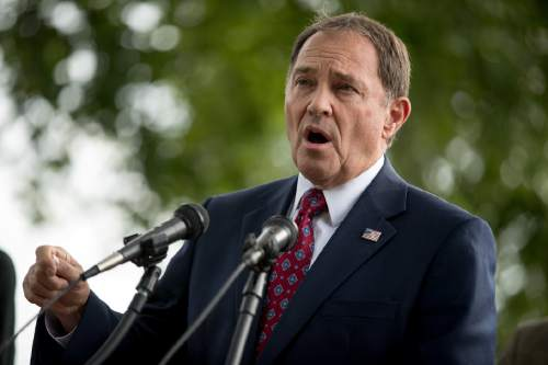 Utah Gov. Gary Herbert speaks at a news conference on the opposition to the proposed Bears Ears National Monument designation in southeast Utah, Wednesday, Sept. 21, 2016, on Capitol Hill in Washington. (AP Photo/Andrew Harnik)