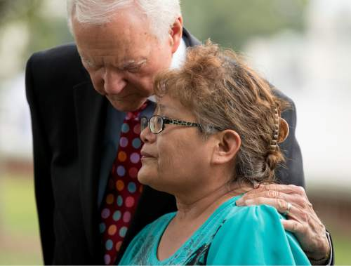 Sen. Orrin Hatch, R-Utah, left, comforts Utah resident and Navajo Susie Philemon as she becomes emotional while expressing her opposition to the proposed Bears Ears National Monument designation in southeast Utah, Wednesday, Sept. 21, 2016, on Capitol Hill in Washington. (AP Photo/Andrew Harnik)