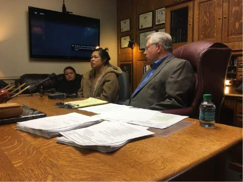 Mariah Noble  |  The Salt Lake Tribune  Tolina Tausinga, her mother Valu Angilau and attorney Robert Sykes held a news conference after filing a lawsuit for the 2014 death of Siale Angilau.